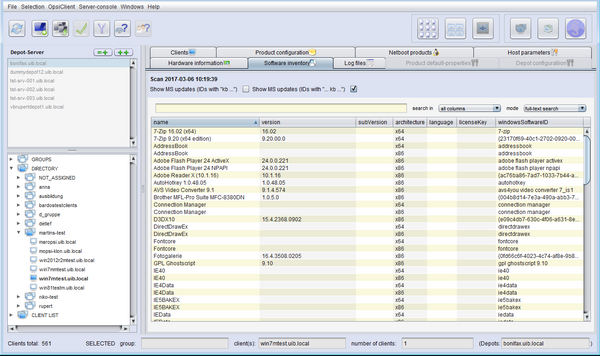 Software inventory of Client